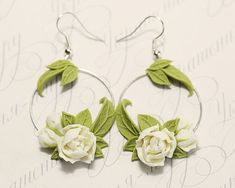 Pair of Hand Sculpted Ivory Peony Earrings hoop. Polymer clay artisan jewelry with Ivory Peony flowers and apple green leaves is made by myself from polymer clay. Dark Blue Flowers, Burgundy Flowers, Floral Flowers, Polymer Clay Flowers, Polymer Clay Earrings, Large Gift Boxes, Metal Clay Jewelry, Biscuit, White Peonies