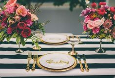Striped table cloth.