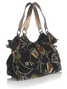 Monsoon Accessorize - Deco Tulip Embroidered Velvet Bag