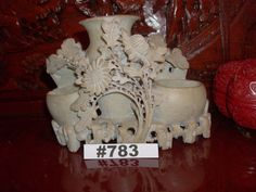 Hand Carved Soapstone Vintage Chinese Carving Triple Flower Vase Chinese Antique…
