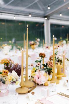 Cecilia Fox | Dream Colours Floral Wedding, Wedding Colors, Wedding Flowers, Yellow Wedding, Summer Wedding, Wedding Arrangements, Table Arrangements, Reception Table, Wedding Table