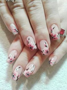 Flowers do not always open, but the beautiful Floral nail art is available all year round. Choose your favorite Best Floral Nail art Designs 2018 here! We offer Best Floral Nail art Designs 2018 .If you're a Floral Nail art Design lover , join us now ! Nail Art Designs, French Nail Designs, Nail Designs Spring, Nails Design, Spring Nail Art, Spring Nails, Spring Art, Fun Nails, Pretty Nails