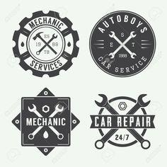 Vintage Mecánico Sello, Emblema Y Logotipo. Ilustración Vectorial Ilustraciones Vectoriales, Clip Art Vectorizado Libre De Derechos. Image 44066695.