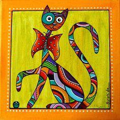 """Tableau du chat """"Papillon"""" tout en couleurs"""