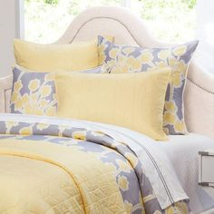 Crane & Canopy's Chevron Yellow cotton quilt and sham set brings chic texture and style to your room. Available in 8 colors to match every room and bed. Yellow Quilts, Yellow Bedding, Floral Bedding, Luxury Duvet Covers, Luxury Bedding, Luxury Linens, Goose Down Pillows, Yellow Chevron, Down Comforter