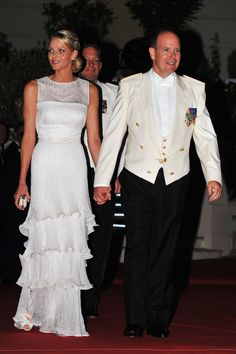 Designer: Armani Privé Occasion: Attending a dinner following the royal couple's religious wedding ceremony   - TownandCountryMag.com