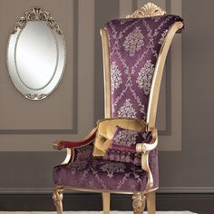 "Fully upholstered solid wood throne chair with intricate wood details  [share title=""Share with Friends"" socials=""facebook, twitter, google, pinterest, bookmark"" class="""" icon_type="""" ]…"