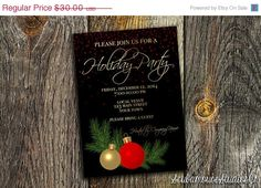 70 OFF SALE Holiday Party Invitation 5x7 by ScubamouseStudiosJr