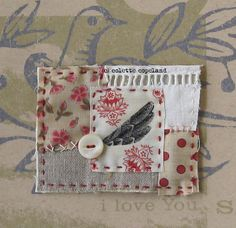 Mini textile quilt OOAK Bird wing by ColetteCopeland on Etsy, $15.00