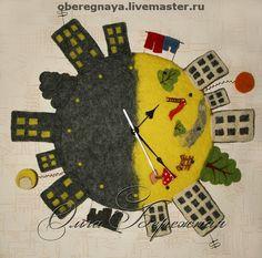 """Часы для дома ручной работы. Ярмарка Мастеров - ручная работа Часы """"Город. День-ночь"""". Handmade."""