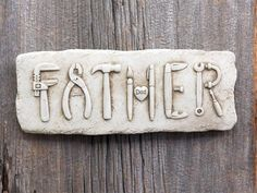 Carruth Studios Father's Plaque Hand Cast Sculpture Aged Stone Finish