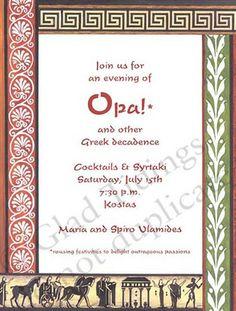 Greek Style Destination To Athens Invitation Sweet 16 Invitations, Birthday Invitations Kids, Invitation Cards, Party Invitations, Invite, Greek Party Decorations, Toga Dress, Greek Dinners, Toga Party