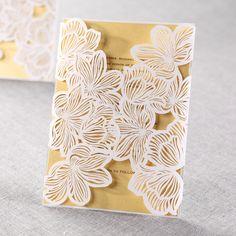 @stefanieann13  Yellow/Gold Laser Cut Floral Lace II - Wedding Invitations by B Wedding Invitations