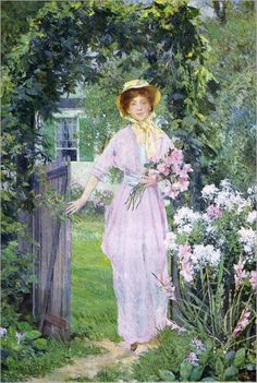 ⊰ Posing with Posies ⊱ paintings of women and flowers - Francis Coates Jones - Young Woman in the Garden