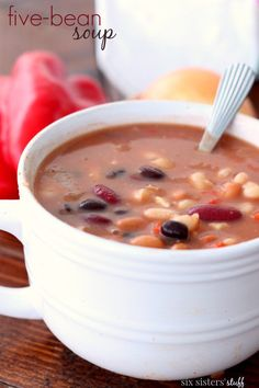 Made this was awesome! I only used Black Beans, Cannelloni Beans and Red Beans. Five-Bean Soup from Six Sisters' Stuff