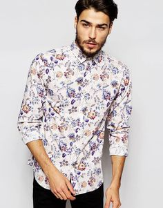 Selected Homme Spread Collar Shirt with All Over Floral Print
