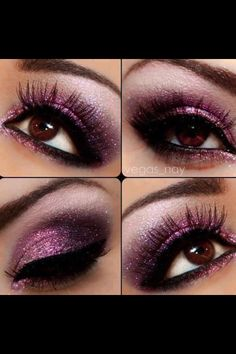 Violet Eye make Up for Hazel Eyes. I like this. Should look cute with my new contacts