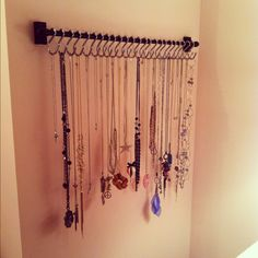 My necklace organizer in my bedroom. Bought the rod & shower hooks from Kmart. Love love love it :)