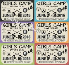 YW Girls Camp - Save the Date Cards! Such a great way to get your girl's excited for camp.  Purchase at amysbasketdesigns.etsy.com