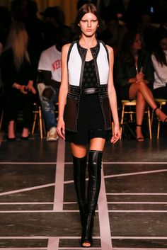 Givenchy | Spring 2015 Ready-to-Wear | 17 White/black/brown studded waistcoat and black studded playsuit