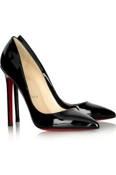 06a34188ac81 Black patent-leather pumps with a heel that measures approximately   5  inches. Christian Louboutin shoes have a pointed low-cut toe and signature  red ...