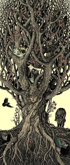 Under the heart tree by bubug #got #agot #asoiaf #starks
