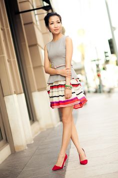 Candy Colors :: Ruby red   Wendyslookbook  Bright colors in a feminine silhouette. Perfect ending to summer.