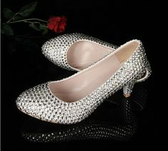 Silver Middle Heel Shoes Spring Prom Party Pumps Stiletto wedding Shoes Discount Bridesmaid Dress Shoes Rhinestone Bridal Shoes US $69.00