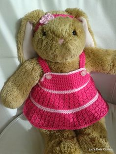 Lyn's Dolls Clothes: Teddy bear crochet dress and headband