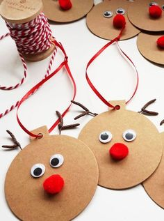 Gift Tags - Easy Christmas Craft These Rudolph Gift Tags are a fun and easy project to make your gift wrapping extra special!These Rudolph Gift Tags are a fun and easy project to make your gift wrapping extra special! Christmas Gift Wrapping, Diy Christmas Gifts, Holiday Crafts, Christmas Holidays, Homemade Christmas, Simple Christmas Crafts, Reindeer Christmas, Christmas Crafts For Kids To Make At School, Christmas Balls