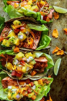 healthy snacks - Chili Lime Salmon Tacos with Mango Salsa Heather Christo Fish Recipes, Seafood Recipes, Mexican Food Recipes, Cooking Recipes, Healthy Recipes, Salmon Salad Recipes, Mango Salsa Recipes, Healthy Tacos, Spinach Recipes
