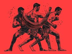 """Gian Galang is an art director and freelance illustrator based in Brooklyn, New York.  """"His work explores the movement, juxtoposition, and interaction of fighters yielding interesting, dynamic compositions.""""  More illustrations via FormFiftyFive"""