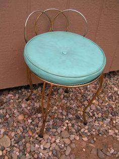 Details about Vintage 1960 Hollywood Regency Vanity Chair Stool ...