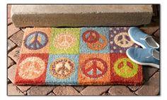 Pop art peace signs door mat.