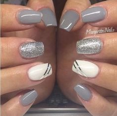 Elegant and modern gray nail art