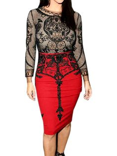 Fantastic Seductive Shaping Printing Hollow O-Neck Long Sleeve Bodycon Dress on buytrends.com