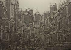 """""""hoshokunomachi"""" (2015) by Daisuke Tajima. pen and ink"""