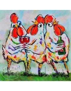 Vrolijk Schilderij Kippen 50x50