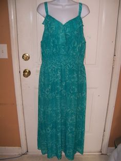 Faded Glory Teal Ruffled Maxi Dress Size 2X (18W/20W) NEW #FadedGlory #Maxi #SummerBeach