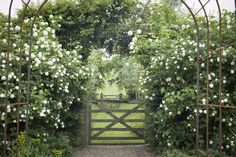 I visited Sarah Raven—gardener, writer, and TV personality—at her charming old dairy farm at Perch Hill in East Sussex, England and felt completely transported strolling around her garden. Like Sarah, it& loaded with ideas. White Gardens, Farm Gardens, Outdoor Gardens, Sloped Garden, Garden Pool, Porches, Landscape Design, Garden Design, Gate Pictures