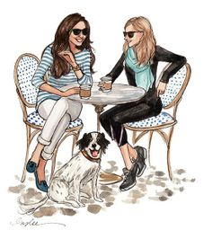 Spring time #coffee :) | Illustration by Inslee Haynes  (This reminds me of my sisters...except they would have knitting in hands.)
