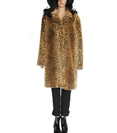 Leopard Faux Fur Coat 80s 90s Vintage Club Kid Boho by KatrajinaCo, $110.00