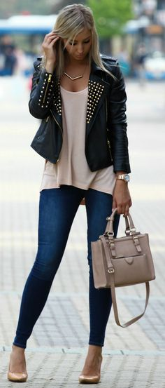 Neutral tank, skinny jeans, nude pumps, gold watch, black leather jacket, neutral bag, gold necklace