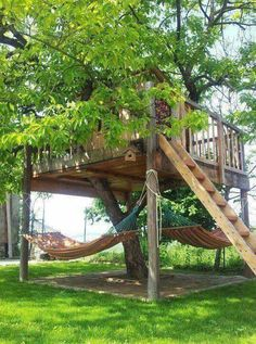 Treehouse with hammocks below