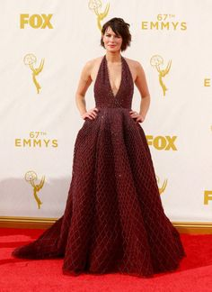 Lena Headey in a Zuhair Murad dress and Jimmy Choo shoes at the 2015 Emmys. See what all the stars wore to the ceremony.
