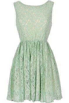 Lace Dress in Mint