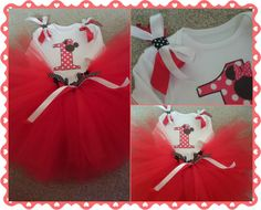 Red Minnie Mouse 1st Birthday Tutu Outfit LR Designs Tutu Boutique January 2015