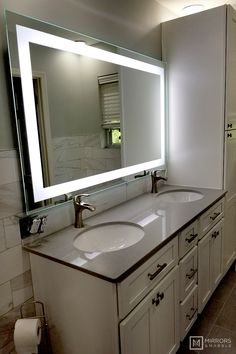 Front-Lighted LED Bathroom Vanity Mirror: 60 x 36 - Rectangular - Wall-Mounted 556968678912647262 Bathroom Vanity, Bathroom Vanity Mirror, Small Bathroom, Bathroom Colors, Modern Bathroom, Bathroom Renovation, Vanity, Bathrooms Remodel, Bathroom Sets