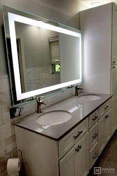 Front-Lighted LED Bathroom Vanity Mirror: 60 x 36 - Rectangular - Wall-Mounted 556968678912647262 Bathroom Signs, Bathroom Wall, Modern Bathroom, Master Bathroom, Bathroom Ideas, Bathroom Closet, Bathroom Organization, Large Bathrooms, Small Bathroom