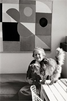 * Sonia Delaunay et son chat 1957